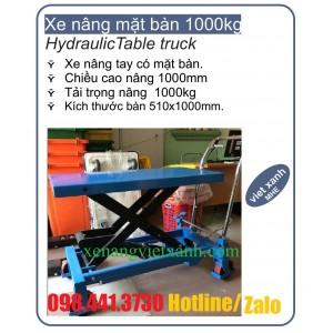 Xe nâng mặt bàn 1000kg cao 1m hiệu Nichilift ( Model: NP100)