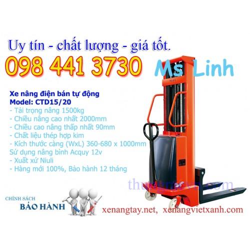 Xe nâng điện bán tự động 1,5 tấn BTD1520