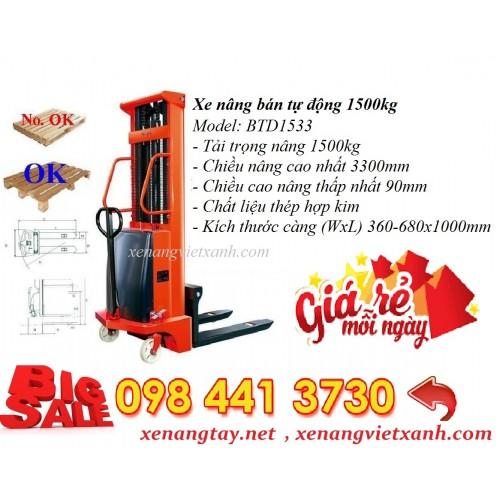 Xe nâng điện bán tự động 1,5 tấn BTD1533