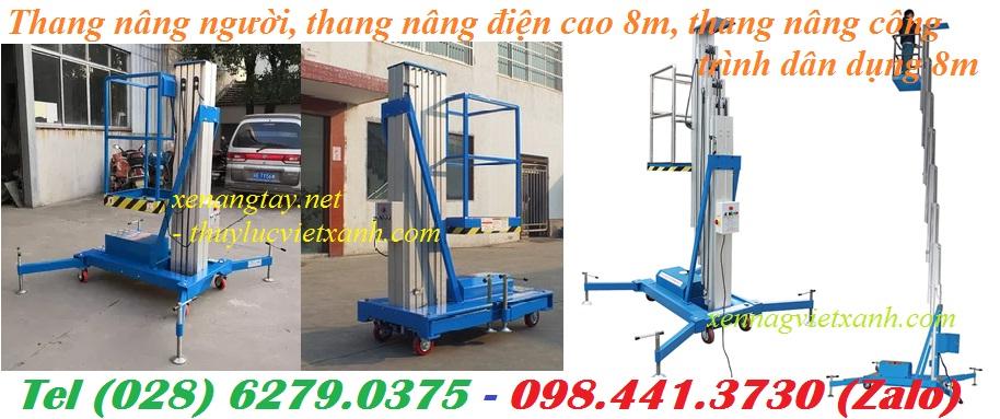/></h4> <h4>Thang nâng điệncao 8m dùng cho công trình dân dụng<br />Model: GTWY801<br />– Tải trọng nâng: 125kg<br />– Chiều cao tối đa của sàn: 8m<br />- Kích thước sàn: 0.63 x 0.64 mét<br />- Kích thước tổng thể: 1.42 x 0.84 x 1.92 mét<br />- Trọng lượng: 450 kg<br />– Sử dụng nguồn điện: 220V<br />– Motor nâng: AC220/0.75V/KW<br />– Hãng sản xuất: Gamlift Mỹ ( lắp ráp tại Trung Quốc)<br />– Bảo hành : 12 tháng ben nâng ( mạch điện bảo hành 06 tháng)<br /><a rel=