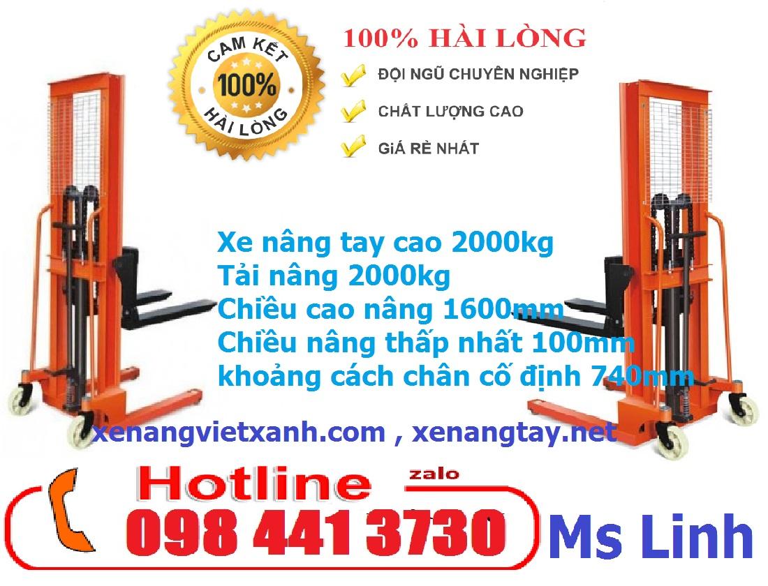 KHUYẾN MÃI XE NÂNG TAY CAO 2000kg nâng cao 1m6